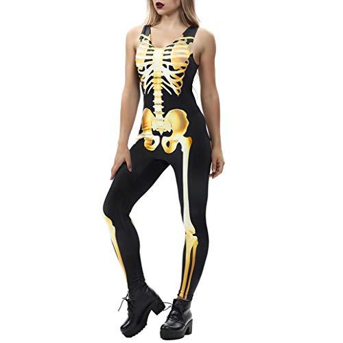 Women Halloween Cosplay Costume Jumpsuit Fancy 3D Rose Skeleton Romper Bodysuit(B,Medium) for $<!--$5.22-->