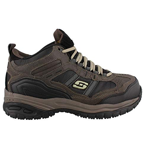Skechers Men's Work Relaxed Fit Soft Stride Canopy Comp Toe Shoe, Brown/Black - 13 D(M) US