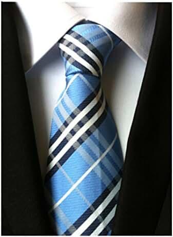 Allbebe Men's Classic Blue White Striped Jacquard Woven Silk Tie Formal Necktie