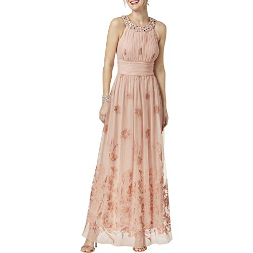 Jessica Howard Womens Mesh Embellished Formal Dress Pink 6
