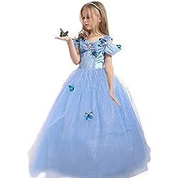 EnjoyFashion Girls' 2015 New Cinderella Dress Princess Costume Butterfly 4-5 Blue