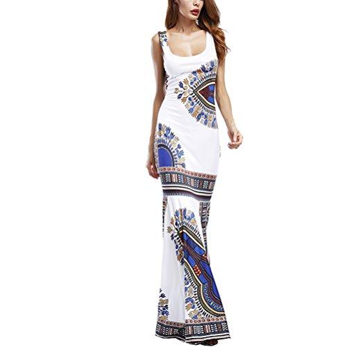 Lady Print Tall Dress (Women's Summer African Print Dashiki Long Maxi Tank Tops Dress Hem Fold Skirt)
