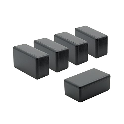 LeMotech 5Pcs ABS Plastic Electrical Project Case Power Junction Box, Project Box Black 2.4