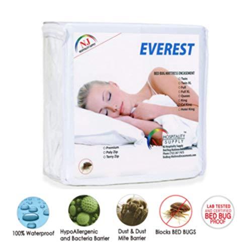 "everest supply premium plus mattress encasement, 100% waterproof,bed bug proof, hypoallergenic, premium zippered, six sided cover, machine washable, sofa queen size 60x72+5"" (fits 4-6"" depth)"