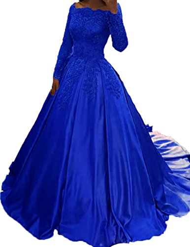 Bateau Floor - BessDress Bateau Long Sleeves Prom Dresses Satin Lace Evening Party Ball Gown BD282