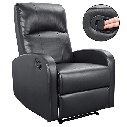 Homall PHL0 Modern Chaise Couch Lounger Sofa Recliner Chair Padded PU Leather Home Theater Seating, Bright Black