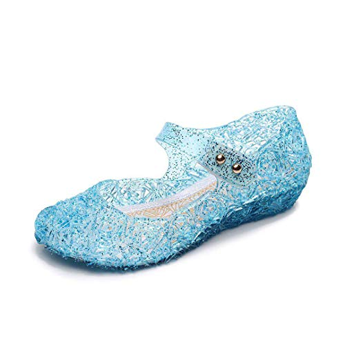 ROYDOM Jelly Sandals for Girls with LED Light Heel Princess Girls' Sparkle Dress Up Kids Cosplay Toddler High Heel Sandal Shoes Blue