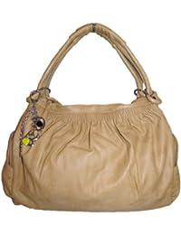 Ruched Charm Satchel Handbag (Tan)
