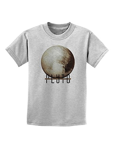 TooLoud Planet Pluto Text Childrens T-Shirt - Ash Gray - Large - Pluto Ash Grey T-shirt