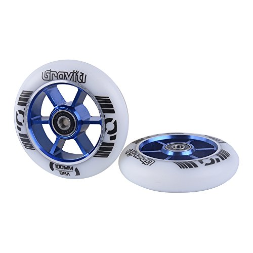 GRAVITI One Pair 100mm Pro Stunt Scooter Wheels with ABEC-9 Bearings CNC Metal Core (2pcs) (white pu blue core)