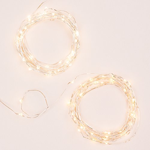Set of 2, 45 LEDs, 15 Feet Silver String Lights. Firefly Party Lights for Indoor and Outdoor (Light Led 15' String)