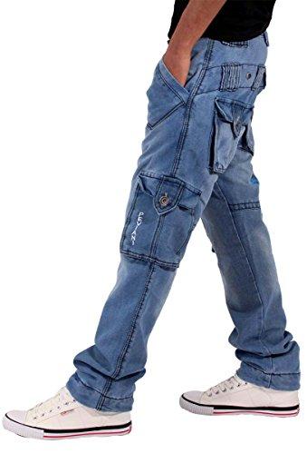 Peviani Herren Jungen Waterloo True Star Blau Cargo Combat Jeans Time Is G Religion Hip Hop