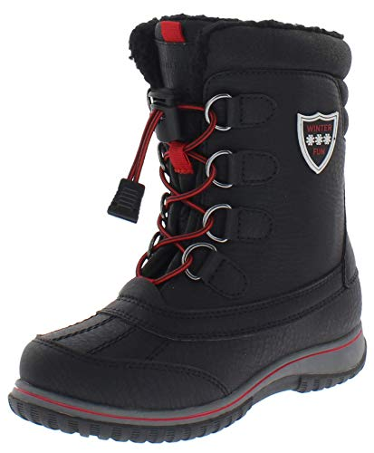 Weatherproof Kids Sleigh Waterproof Insulated Snow Boot for Boys and Girls, Black/RED, 6 M US
