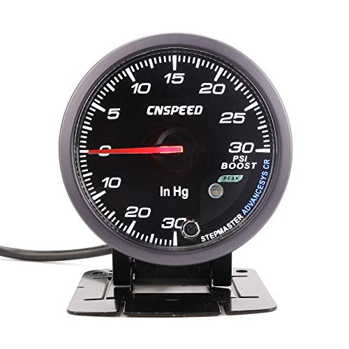 CNSPEED 60MM Turbo Boost gauge Black Face Amber White LED 30~30 Psi Boost Gauge with peak Function Car meter: