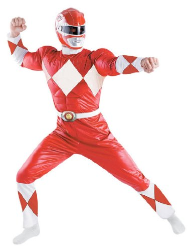 [Disguise Men's Saban Power Rnagers Mighty Morphin Red Ranger Classic Muscle Costume, Red/White,] (White Ranger Adult Costumes)
