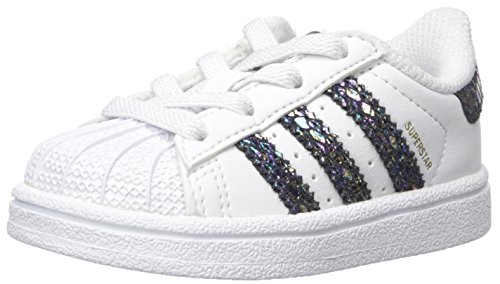 adidas Originals Baby Superstar Metallic Snake EL I, Ftwwht,Ftwwht,Cblack, 5 Medium US Toddler - Kid Snake Girl Shoe