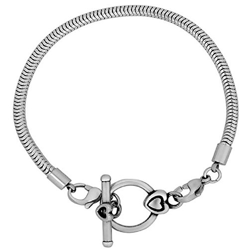 Stainless Steel Snake Charm Bracelets Toggle Clasp for Women & Girls Fits Pandora Beads fadeless bracelets with 2inch extended chain (7.5)
