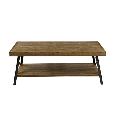 Rustic Hardwood Coffee Table with Steel Legs & Bracing
