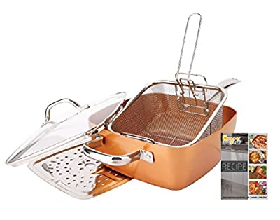 """Non-Stick Copper Titianium Chef 5 Piece 9.5"""" Square Pan Set"""