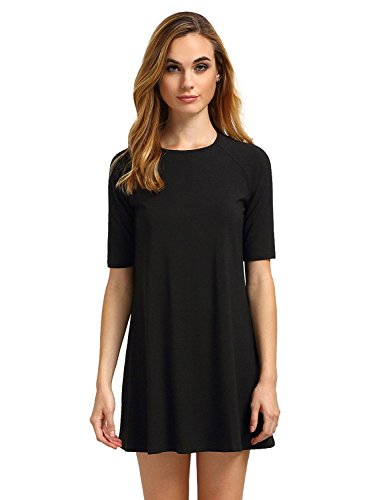 Romwe Women's Short Sleeve Floral Print Summer Beach Casual Loose Tunic Dress