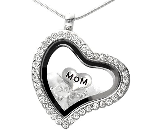 Mom mémoire Médaillon Collier avec cristal de Swarovski flottant Charms Chaîne de 45,7cm dans une boîte cadeau