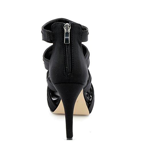 Alesya Scarpe&Scarpe - Sandalen mit Absatz und Bändern, mit Absätzen 9 cm - 37,0, Schwarz