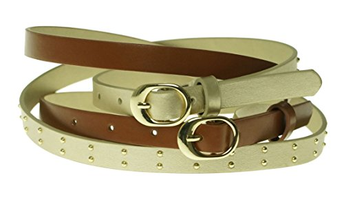 Style & Co. Women's Gold/ Cognac 2 for 1 Studded Belt Size (Glamour Belted Belt)