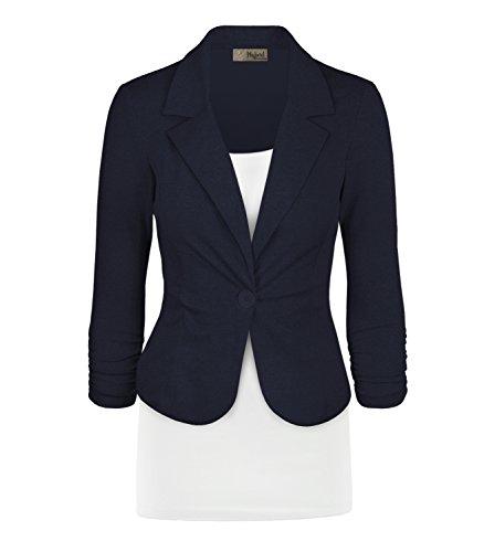 Women's Casual Work Office Blazer Jacket JK1131 Navy L ()