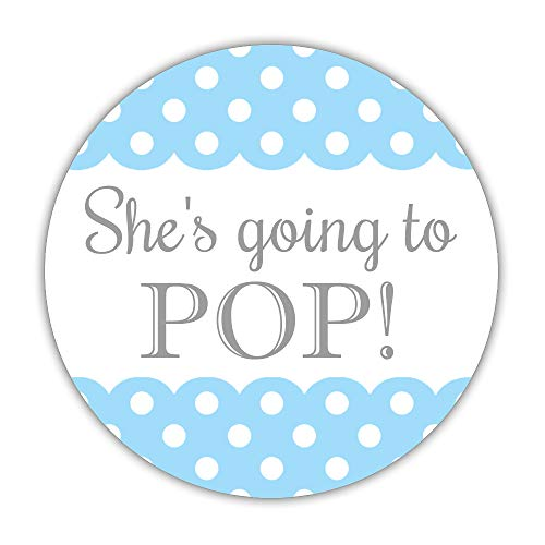 (40 Ready to pop Stickers Blue, 2 inches - Going to pop Labels - Baby Shower Popcorn Favors (Sky Blue))