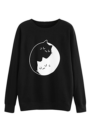 MAKEMECHIC Women's Graphic Cat Print Long Sleeve Pullover Sweatshirt Black# S