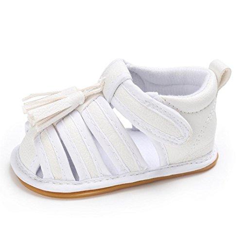 Igemy 1 Paar Baby Kleinkind Sommer Mädchen Jungen Krippe Quasten Schuhe Soft Sole Neugeborenen Anti-Rutsch Turnschuhe Sandalen Weiß
