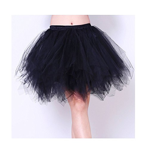 [Tree YY Women Black 50s 80s costume Vintage petticoat bubble tulle (M)] (1980s Dress)