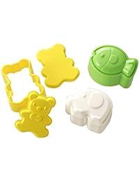 Win 3pcs Set White Elephant Yellow Bear Green Fish Bento Lunch Box Sushi Rice Cutter Mold discount
