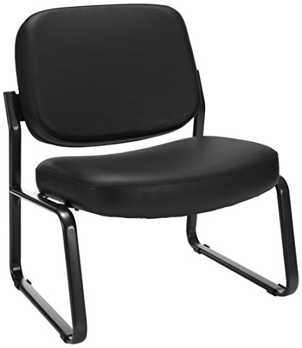 OFM Big and Tall Vinyl Armless Guest / Reception Chair, Black