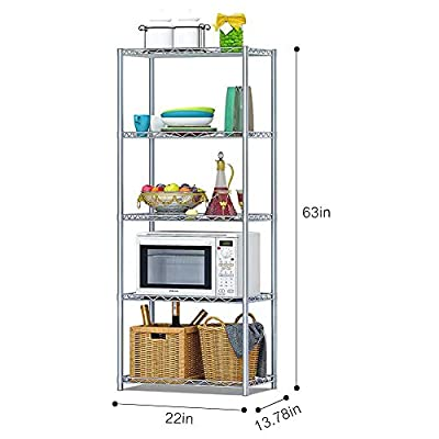 Microwave Stands for Kitchens, FOME 5 Tier Kitchen Microwave Shelf Storage Rack Strong Mesh Wire Metal Shelves Microwave Work Station Shelf Kitchen Baker Rack for Kitchen Office Garage 63x22x13.78in