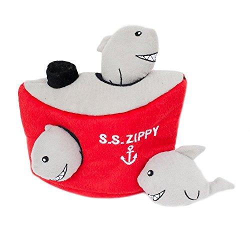 ZippyPaws Burrow Shark 'n Ship - Squeaky Plush Hide and Seek