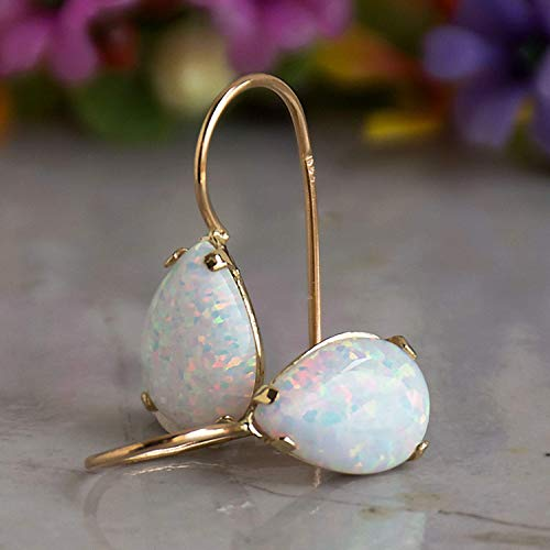 14K Yellow Gold 7X10mm White Opal Teardrop Gemstone Drop Earrings, October Birthstone, Dainty Opal Gemstones Earrings, Bridal Handmade Wedding Jewelry Gift for Brides
