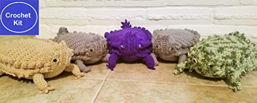 (Texas Horny Toad Crochet Kit - Texas Horned Lizard Crochet Kit - Available in Beige, Gray, Purple or Camouflage)