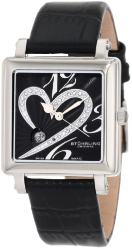 Stuhrling Original Women's 253XL.11151 Amour Aphrodite Courtly Passion Swiss Quartz Diamond Date Black Watch