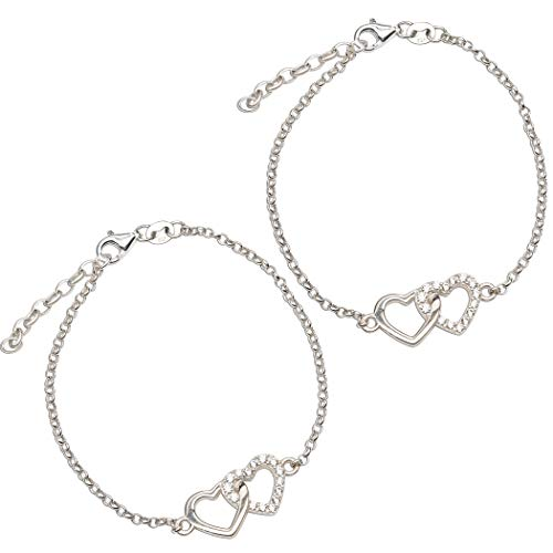 Double Heart Bracelet - Sterling Silver Mom and Me Double Heart Bracelet Set for Mom and Adult Daughter