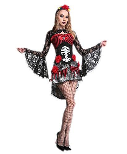 Adult Skeleton Skull Women Costume Day Of The Dead Halloween Vampire Bride Fancy Dres (Makeup Dead Bride Halloween)