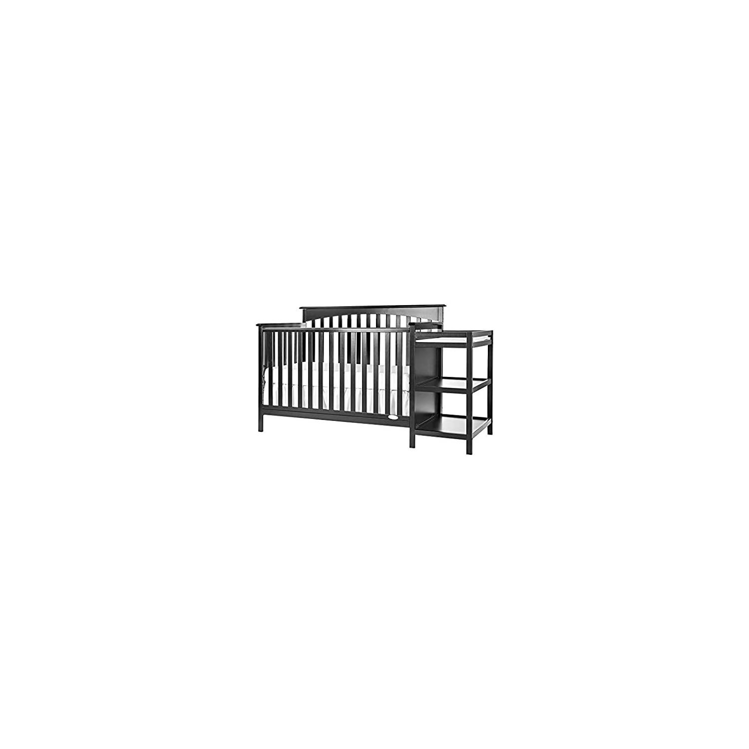 Dream On Me Chloe 5-in-1 Convertible Crib with Changer, Black with Changer, Cherry with Two Sided Contour Changing Pad, White and Full Size Firm Foam Crib and Toddler Bed Mattress, Little Baby, 6″