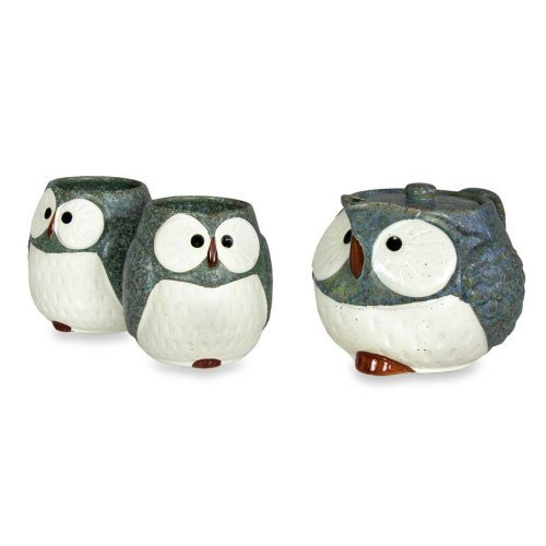Owl Ceramic Tea Set (Blue)