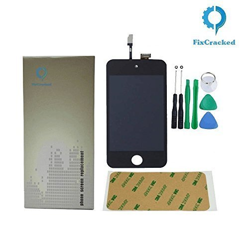 FixCracked for iPod Touch (4th Gen) Display Assembly,Black for LCD Screen Replacement Front Glass Digitizer + LCD Full Assembly + 7 Piece Tool Kit + 3M Adhesive+Step by Step (Replacement Ipod Screens)