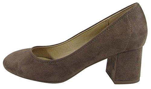 Cambridge Select Womens Closed Round Toe Slip-On Chunky Block Mid Heel Pump Dark Clay Imsu BNRuJJig