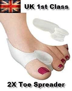 1 par Gel Corrector Separador del dedo del pie de juanetes Toe Protector plancha Toe Spreader X2