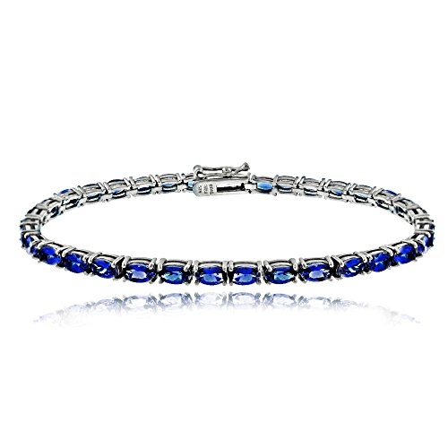 Sterling Silver Created Blue Sapphire 5x3mm Oval Tennis Bracelet
