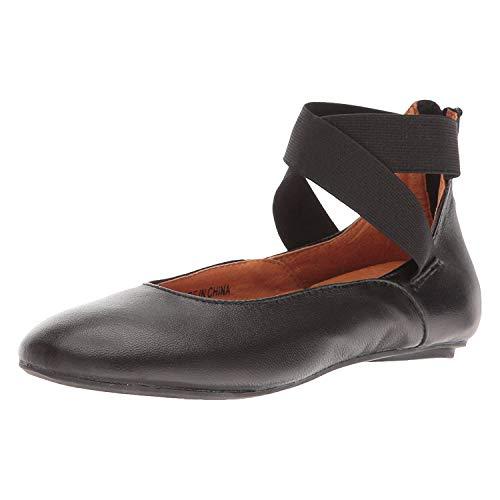 - FLORIANA Women's Arabesque Black Leather Ballet Flats - Strappy Zip Backs - Size 38