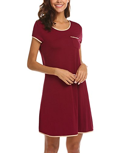 Ekouaer Women's Nightshirts Viscose Chemises Slip Long Nightgown Sleepwear (Wine Red XXL)