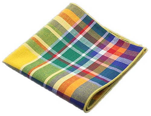 (Flairs New York Flannel and Tweed Collection Pocket Square (Pineapple Yellow Multi))